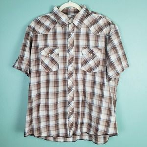Wrangler Western Pearl Snap Plaid Shirt Size XL